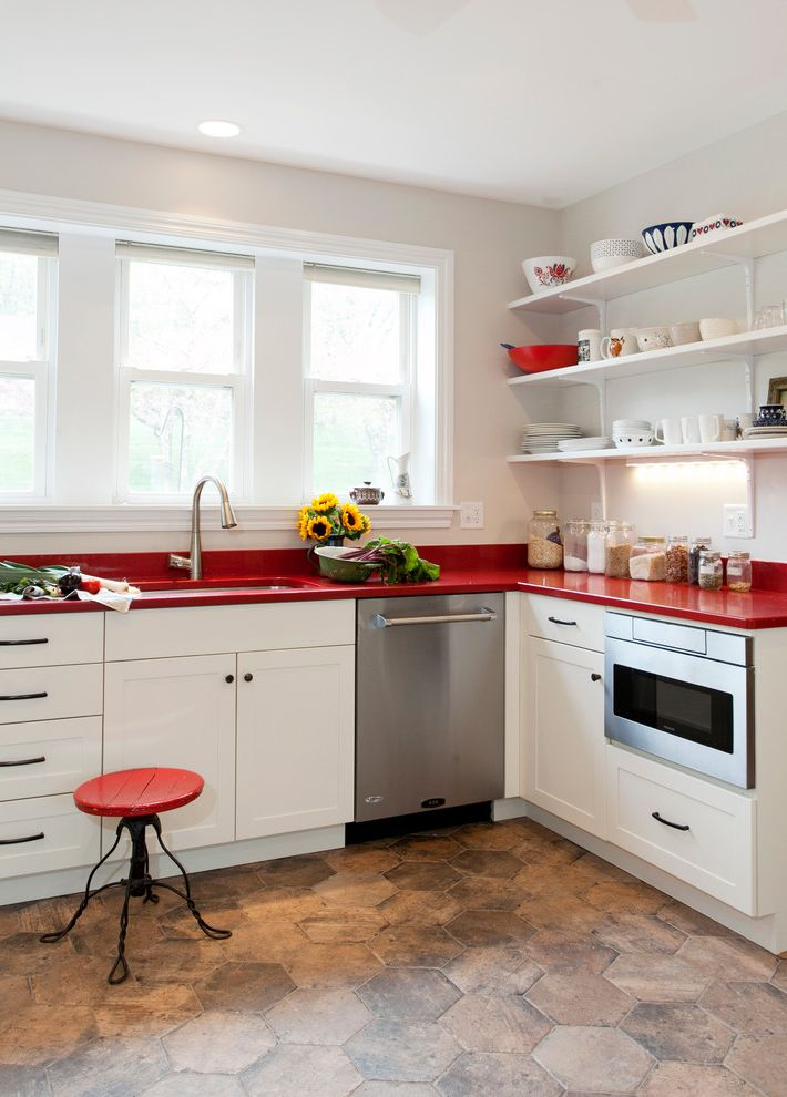 Red Door Spa Chicago   Farmhouse Kitchen Also Hex Tile Microwaves Open Storage Pullout Faucet Quartz Red Accents Red Counters Single Handle Faucet Sleek Stool White Cabinet