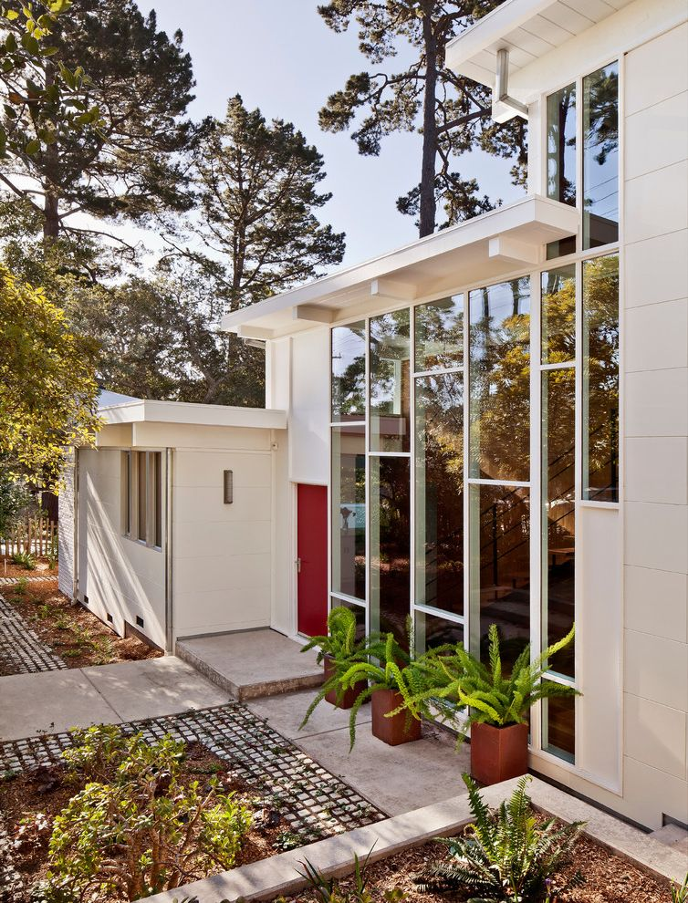 Red Door Spa Chicago   Midcentury Exterior Also Asparagus Fern Concrete Paving Entrance Entry Flat Roof Glass Walls Mid Century Modern Midcentury Modern Permeable Paving Planters Red Front Door Remodel Roofline White House