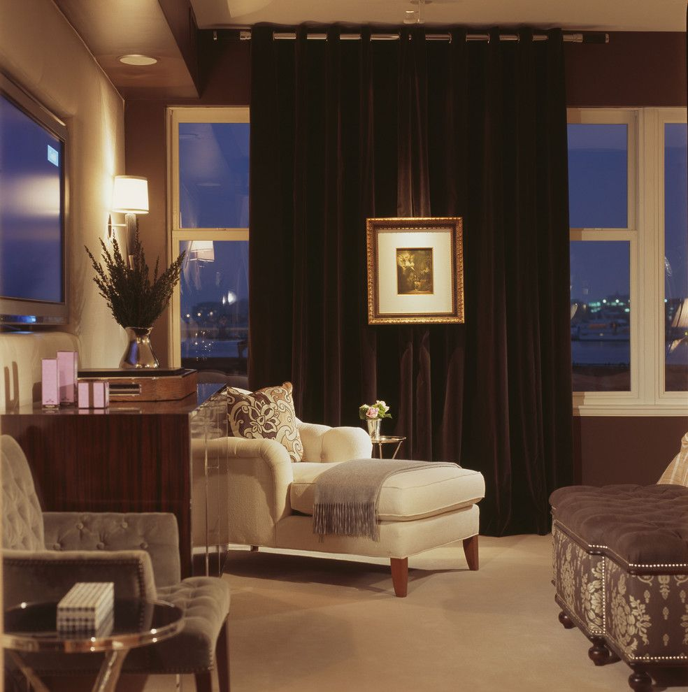 Ritz Carlton Baltimore   Contemporary Bedroom  and Art Chaise Drapery Sconce Side Table Velvet Window Treatments