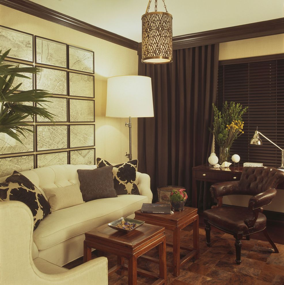 Ritz Carlton Baltimore   Contemporary Family Room  and Art Art Display Desk Lamp Drapery Floor Lamp Framed Map Leather Desk Chair Pendent Tufted Back Sofa Wood Blinds