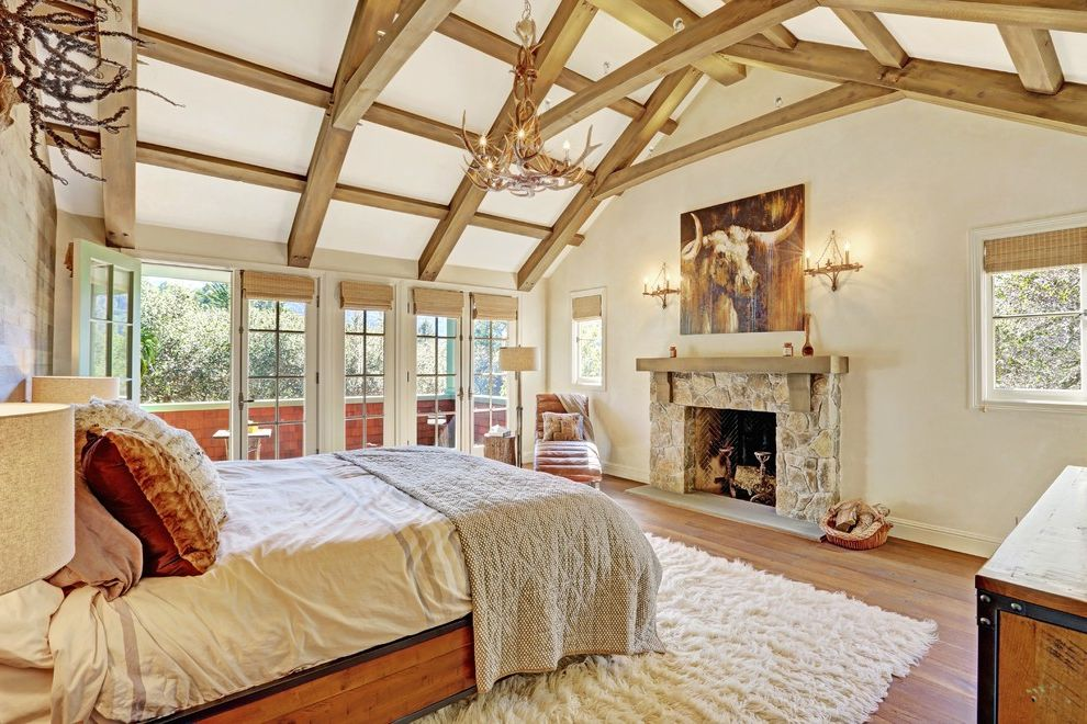 Ross Modesto Ca   Traditional Bedroom  and Antler Deer Light Beam Ceiling Beamed Ceiling Chaise Lounge Chairs Contemporary Contemporary Design French Door Rustic Wood Traditional Traditional Design Wood Beams