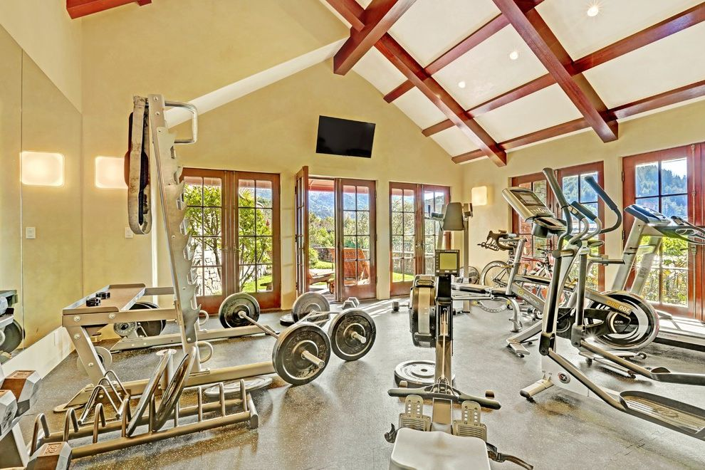 Ross Modesto Ca with Traditional Home Gym Also Beam Beamed Ceiling Contemporary Contemporary Design French Door Mirrored Wall Traditional Traditional Design Wood Beams