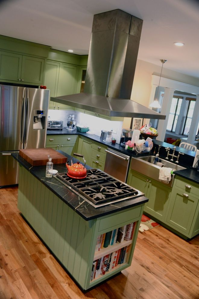 Samsung Stoves   Traditional Kitchen  and Apron Sink Black Marble Cooktop Custom Wood Work Green Hood Island Peninsula Sage Stainless Stainless Steel Sink Walnut