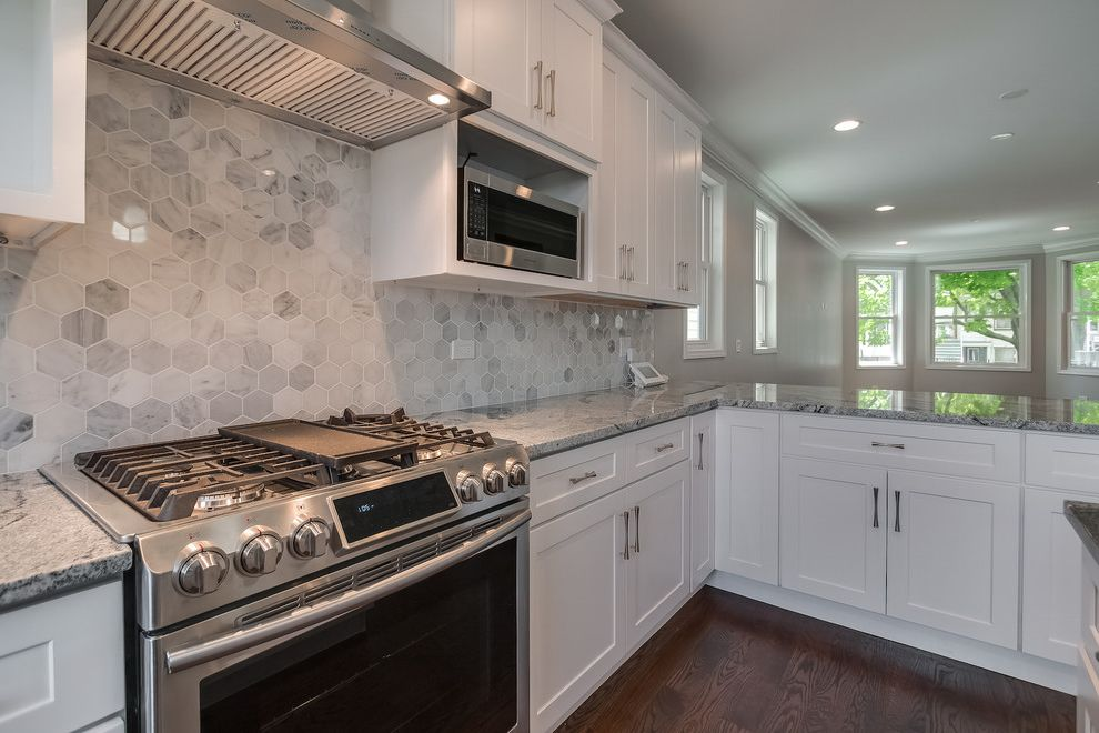Samsung Stoves with Contemporary Kitchen  and Hex Tile Marble Backsplash Samsung Stove Shaker Style Stainless Steel Appliances White Kitchen