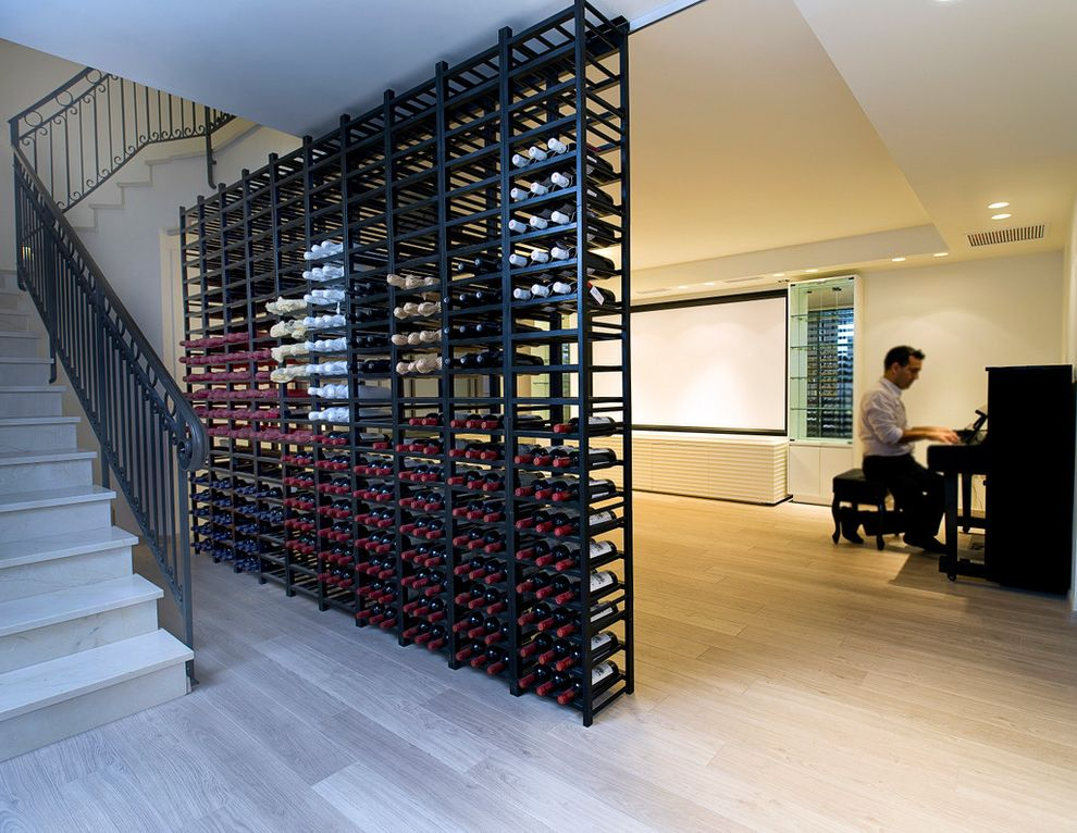 Small Metal Wine Rack   Contemporary Basement Also Hardwood Floors Piano Racks Staircase Stairs Unique Storage Wine Bottles Wine Room Wine Storage Wine Wall