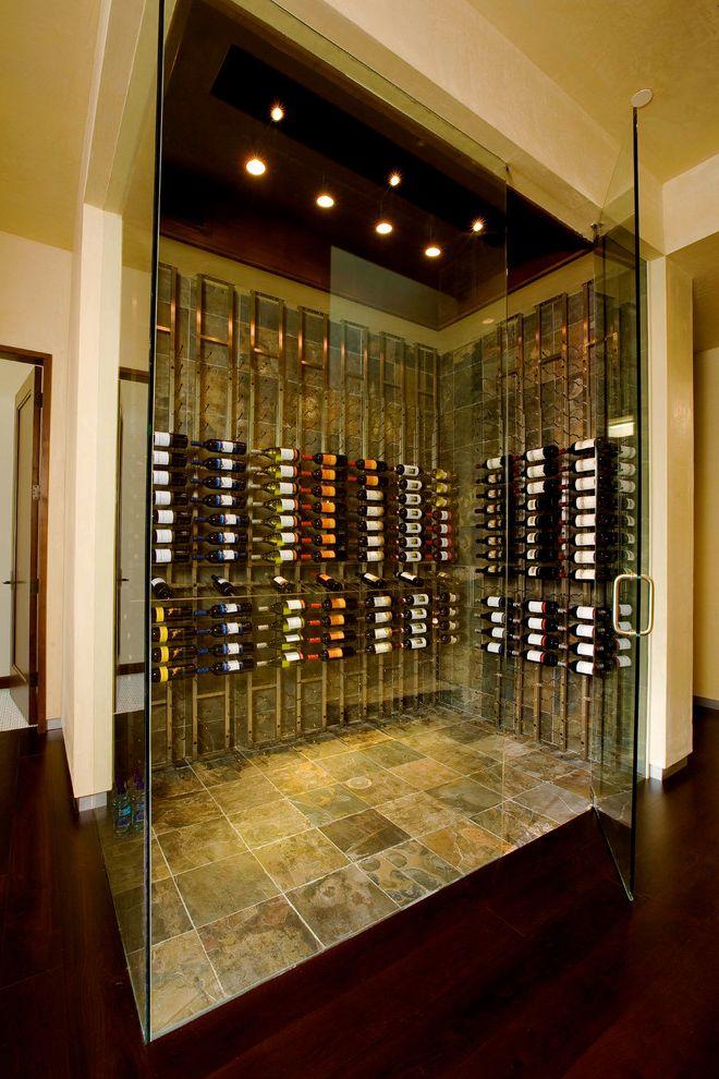 Small Metal Wine Rack   Contemporary Wine Cellar Also Enclosed Frameless Glass Door Slate Floor Wine Cellar Lighting Wine Organization Wine Rack Wine Storage