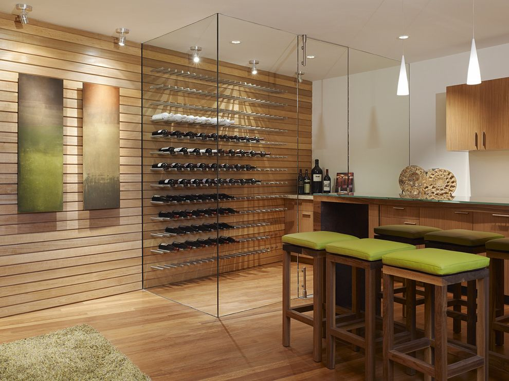 Small Metal Wine Rack   Contemporary Wine Cellar  and Glass Walls Pendant Light Recessed Lighting Slatted Wood Wall Stool Track Lighting White Walls Wine Wine Storage Wood Floor Wood Walls