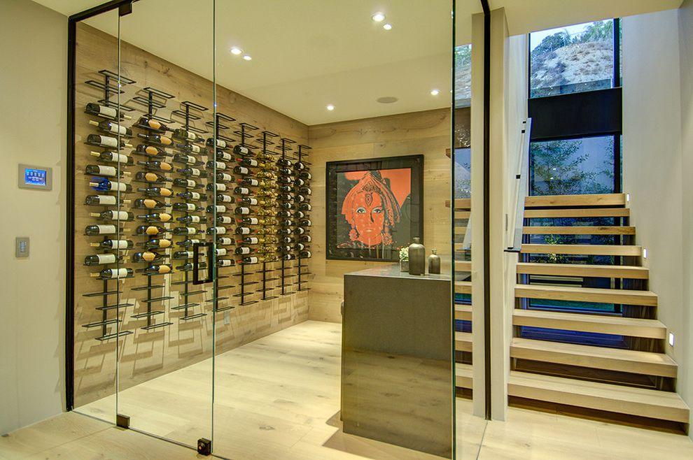 Small Metal Wine Rack   Modern Wine Cellar Also Basement Built in Storage Glass Enclosure Minimalist Wall Mount Racks Wine Racks Wine Storage Wood Flooring