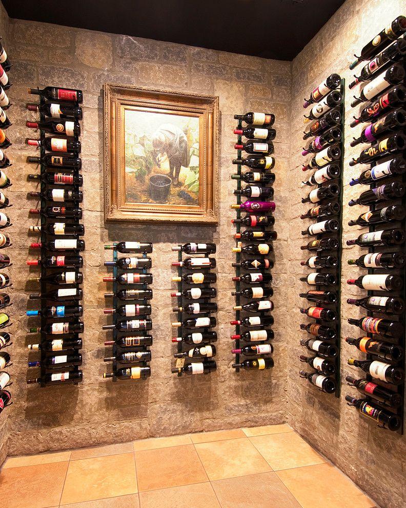 Small Metal Wine Rack   Traditional Wine Cellar Also Built in Storage Dark Ceiling Framed Artwork Old World Stone Walls Tile Floor Wall Mounted Wine Racks Wine Organization Wine Storage