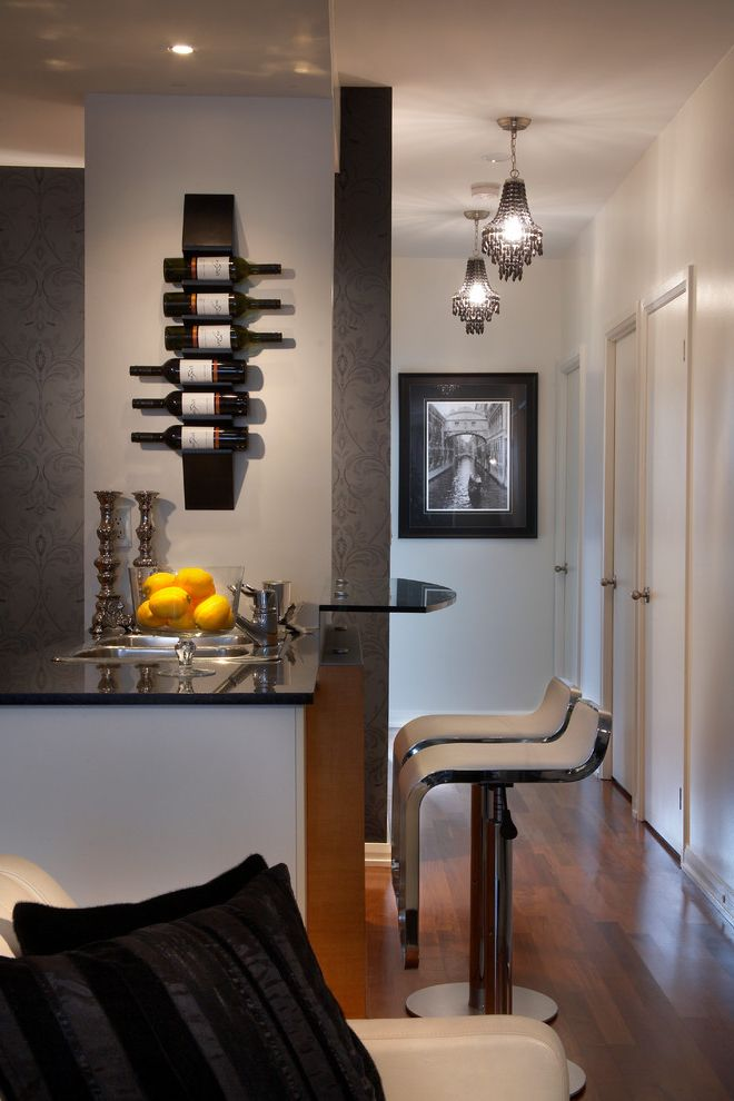 Small Metal Wine Rack with Contemporary Home Bar Also Black Pendant Lights Dark Gray Wallpaper Dark Wood Floor Double Bowl Sink Home Bar Oranges Stainless Sink Swivel Bar Stools Two Level Counter Wet Bar White Bar Stools White Barstools Wine Rack