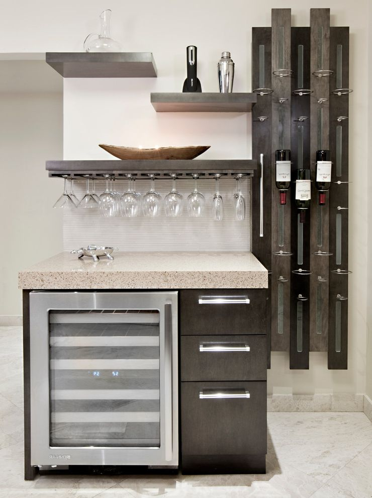 Small Metal Wine Rack with Contemporary Kitchen  and Custom Floating Shelves Hanging Glasses Hanging Wine Glasses Home Bar Open Shelves Open Shelving Wet Bar Wine Bottle Display Wine Bottle Rack Wine Cooler Wine Fridge