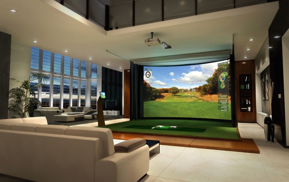 Sparta Theater Nj   Modern Home Theater  and Amenity Den Entertainment Family Room Golf Golf Simulator Home Theatre Man Cave