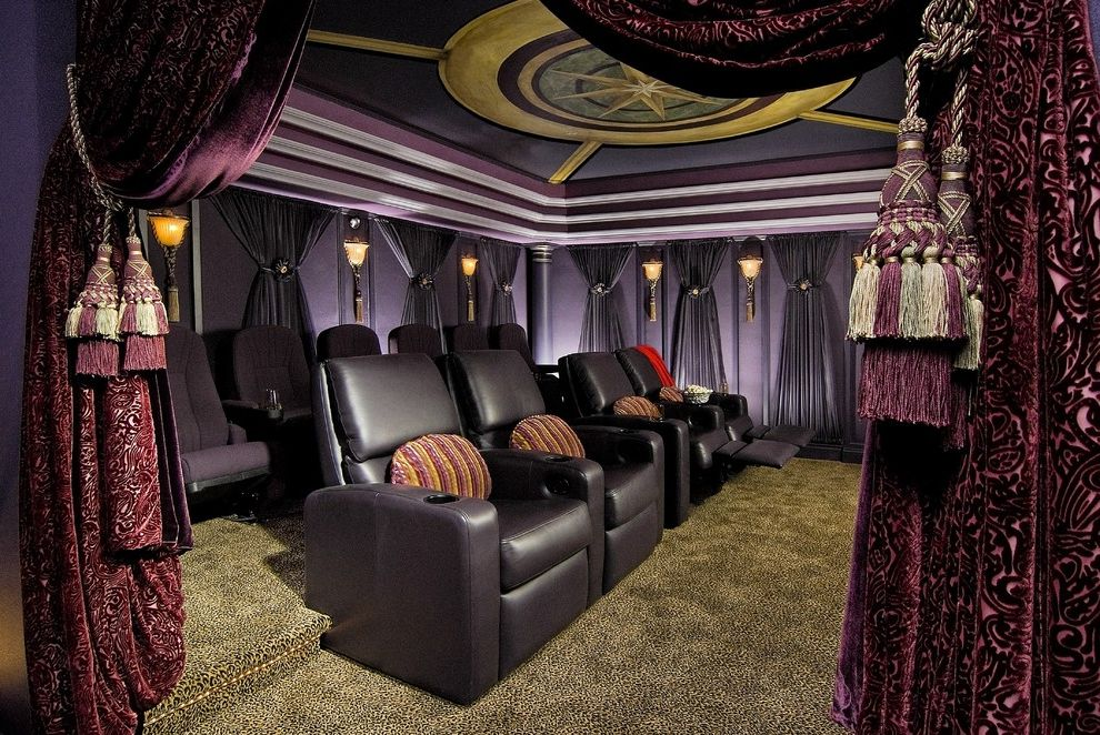 Sparta Theater Nj   Traditional Home Theater Also Carpeting Curtain Panels Fringe Gold Medallion Movie Theater Painted Ceiling Pillows Plum Leather Purple Walls Seating Tassles Tray Ceiling Velvet Wall Sconce