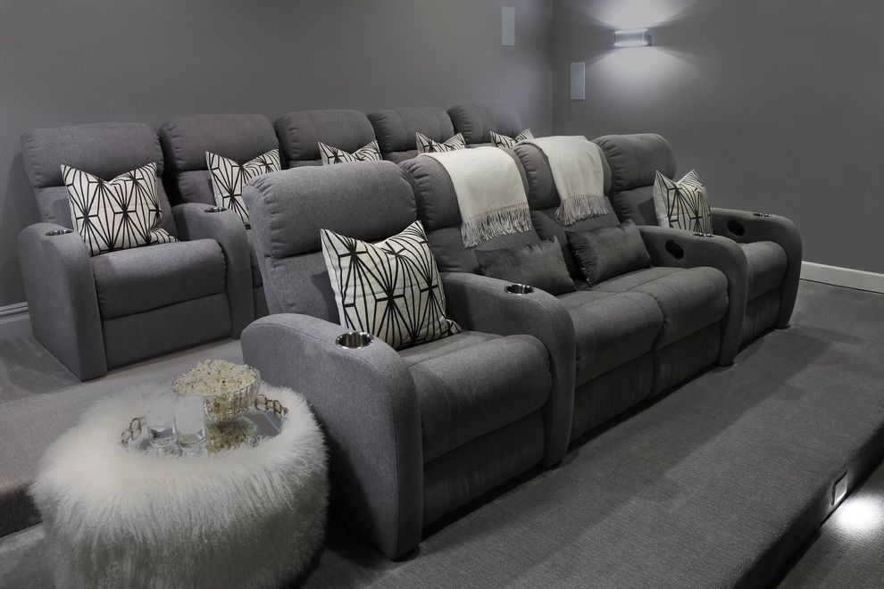 Sparta Theater Nj   Transitional Home Theater  and Comfy Theater Chairs Contemporary Chairs Contemporary Theater Fur Sidetable Grey Carpet Theater