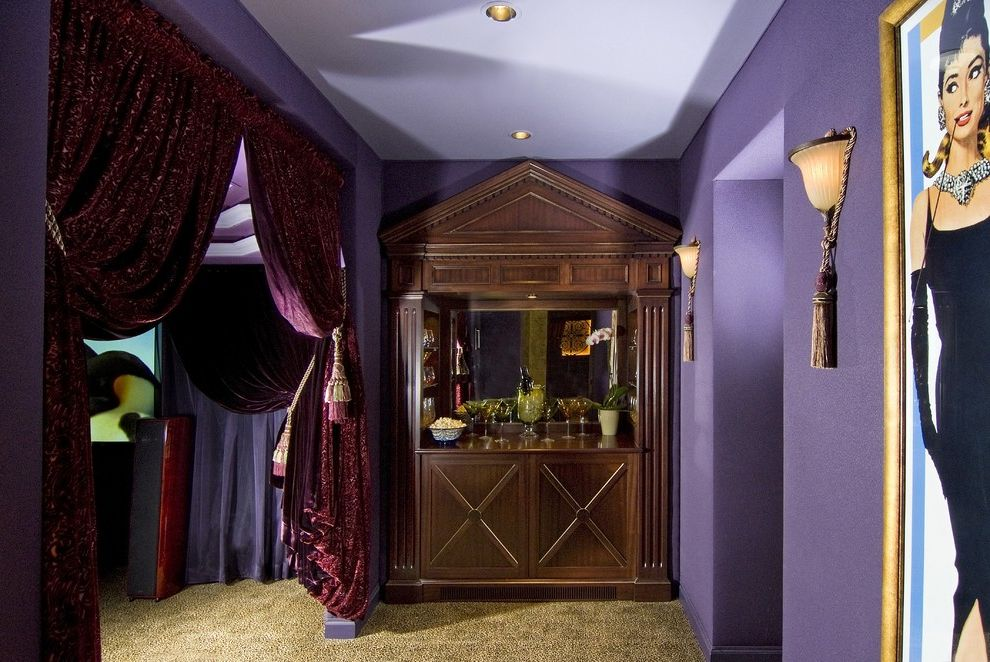 Sparta Theater Nj with Traditional Home Theater Also Built in Armoire Carpeting Cinema Curtain Panels Dry Bar Fringe Purple Walls Recessed Lights Tassles Velvet Wall Sconce