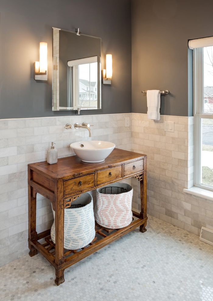 Tile Stores Milwaukee   Traditional Bathroom  and Asian Altar Table Contemporary Sconces Custom Vanity Hex Tile Hexagon Floors Jeff Lewis Color Carbon Marble Tile Master Bath Master Bathroom Modern Farmhouse Subway Tile Vessel Sink Wall Mounted Faucet
