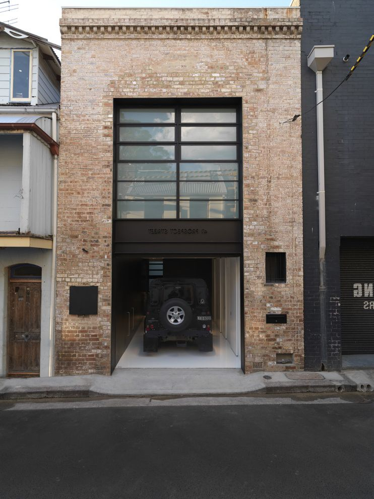 Time Card Calculator with Lunch   Industrial Garage  and Black Brick Wall Entrance Entry Epoxy Floor Garage Door Heritage House Numbers Loft Portal Frame Steel White