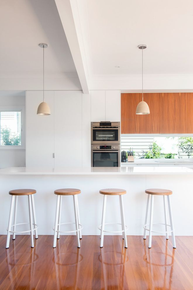 Time Card Calculator with Lunch with Contemporary Kitchen  and Clean Family Kitchen Polished Floor Timber Timber Flooring White Kitchen Window Splashback Wood Top Bar Stool