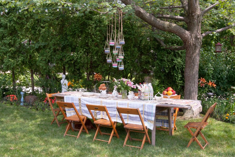 Time Card Calculator with Lunch with Shabby Chic Style Landscape Also Bohemian Candle Holders Cotton Table Cloth Grass Lawn Outdoor Dining Outside Dining Pendant Lights Salvaged Chairs