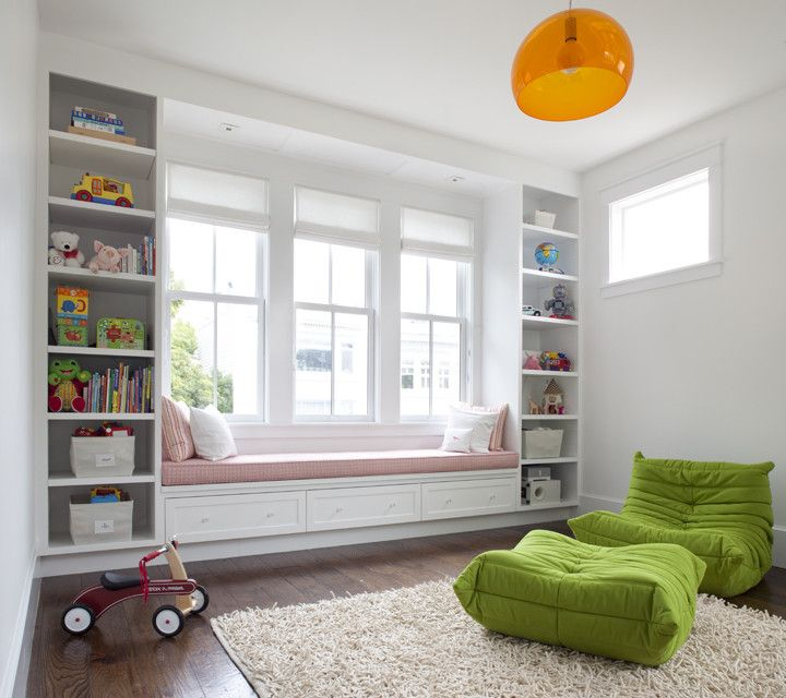 Time Card Calculator with Lunch with Transitional Kids  and Color Fly Suspension Lamp Green Chair Hanging Lamp Kids Storage Orange White Walls Window Seat Wood Floor