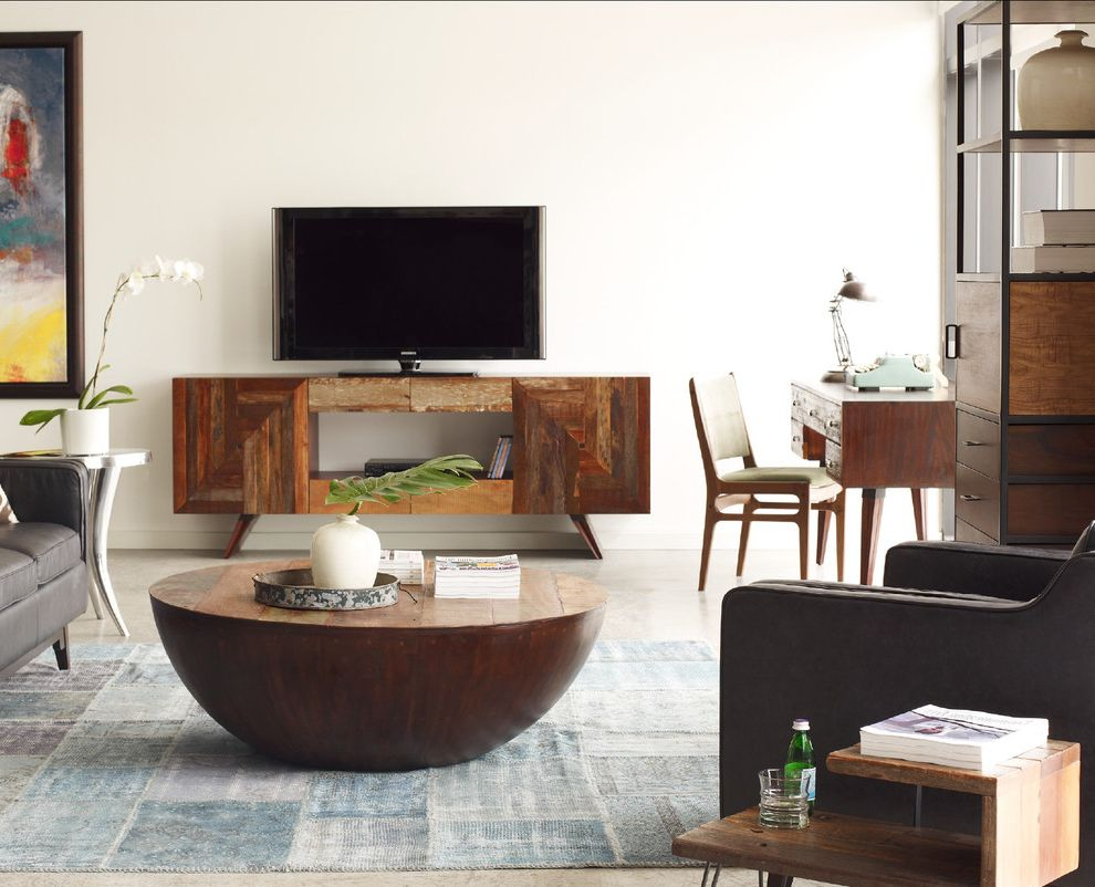 Unique Tv Stands with Eclectic Family Room  and Eclectic Over Died Rug Peroba Reclaimed Wood Rex Media Cabinet Rug Turkish Patchwork Zin Home Zinhome