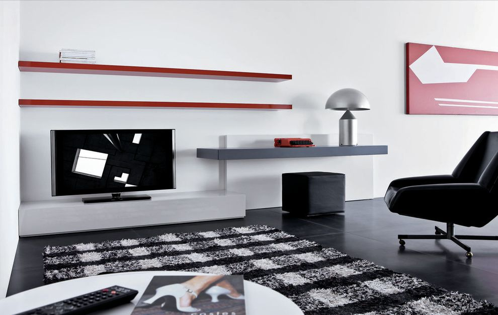Unique Tv Stands with Modern Living Room  and Area Rug Bold Colors Dark Floor Floating Shelves Minimal Table Lamp Tv Stand Wall Art Wall Decor