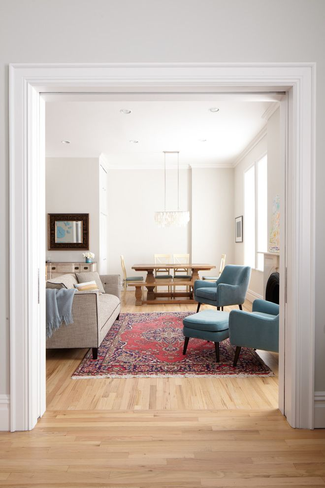 Unruh Furniture   Contemporary Living Room Also Blue Chairs Gray Walls Pickled Floor Pickling Stain Pocket Doors