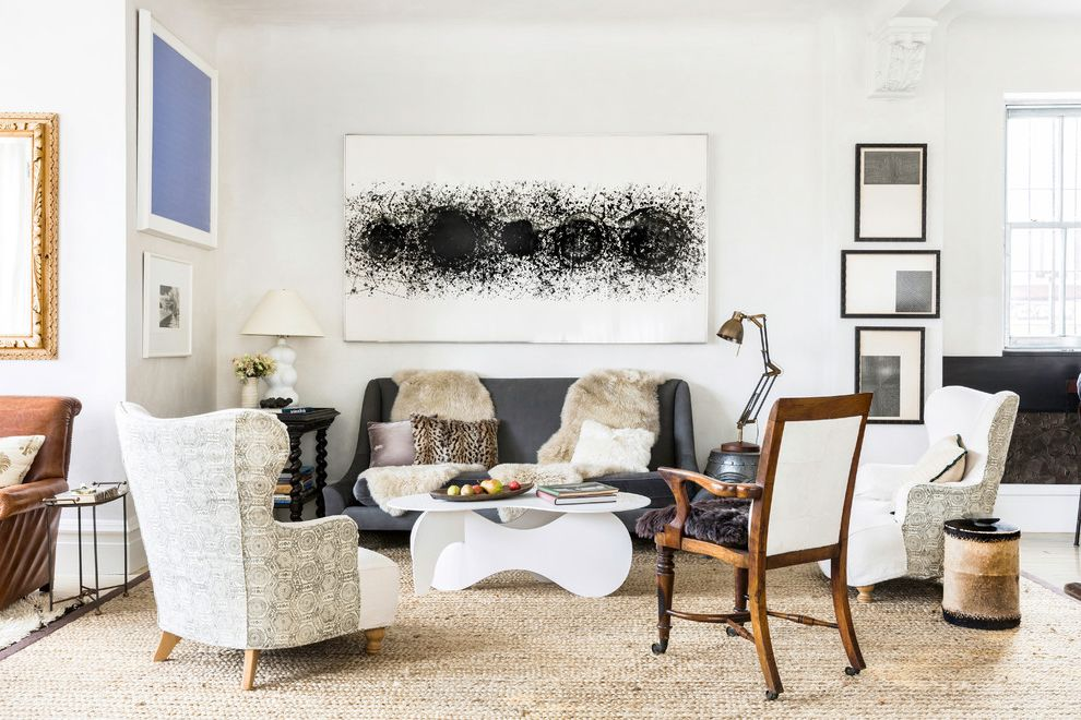Unruh Furniture   Eclectic Living Room Also Black and White Art Collection Comfortable Comfy Contemporary Coffee Table Cosy Egypt Style Gray Sofa Indian Selections Japanese Livable Pillow Design Wingback Chair