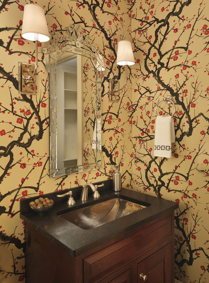 Vineyard Vines Wallpaper   Eclectic Powder Room Also Bath Bathroom Cherry Blossoms Curved Sink Bowl Etched Glass Mirror Floral Guest Bath Half Sconces Wallpaper Wood Vanity