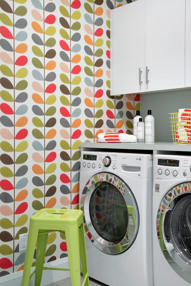 Vineyard Vines Wallpaper   Scandinavian Laundry Room  and Accent Wall Blue Color Colorful Fun Green Interior Architecture Interior Design Laundry Room Lucyinteriordesign Lucylovescolor Pattern Stool Wallcovering Wallpaper White Cabinetry White Trim