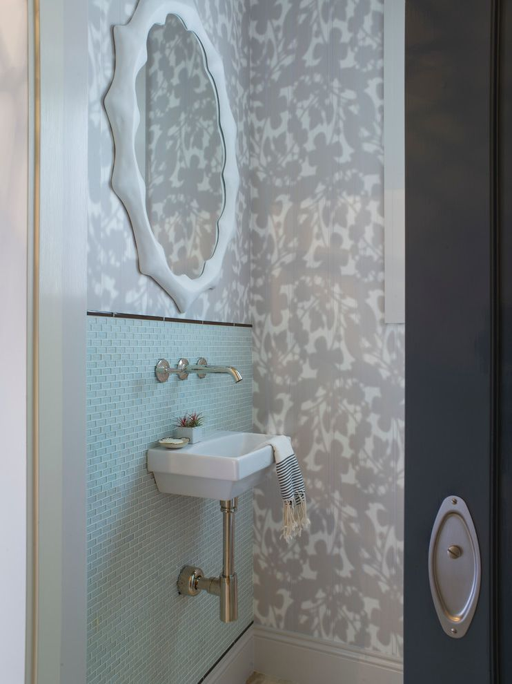 Vineyard Vines Wallpaper   Transitional Powder Room  and Floral Sliding Door Wall Mirror Wall Mounted Faucet Wallpaper