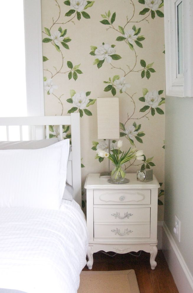 Vineyard Vines Wallpaper with Contemporary Bedroom Also Accent Wall Baseboards Bedside Table Floral Wallpaper Neutral Colors Nightstand White Bedding White Wood Wood Molding