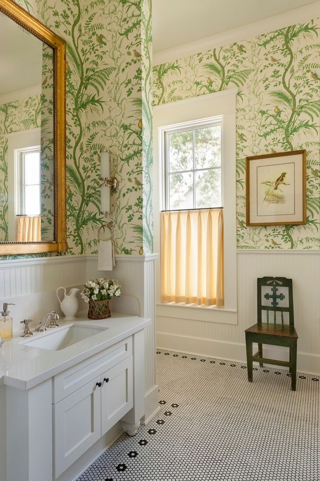 Vineyard Vines Wallpaper with Farmhouse Bathroom Also Antique Chair Artwork Bathroom Wallpaper Beadboard Gold Mirror Green Wallpaper Mosaic Tile Penny Mosaic Floor Tile Sconces White Countertop