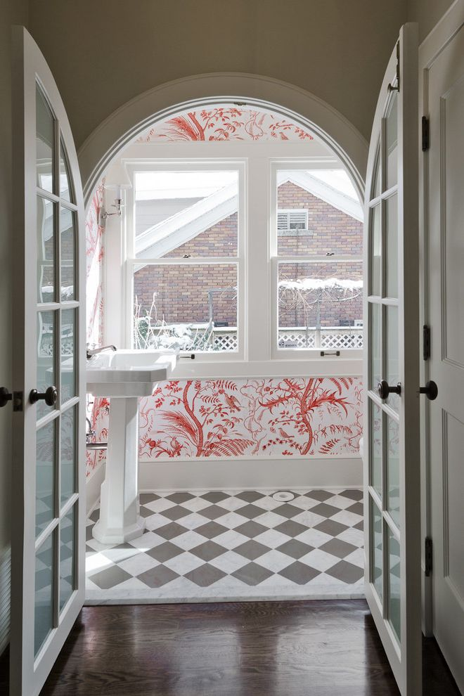 Vineyard Vines Wallpaper with Traditional Bathroom Also Bedroom Cameo Homes Inc Remodeler Checker Board Floor Double Doors Double Hung Windows French Doors Marble Pedestal Sink Powder Bathroom Wallpaper White Painted Wood