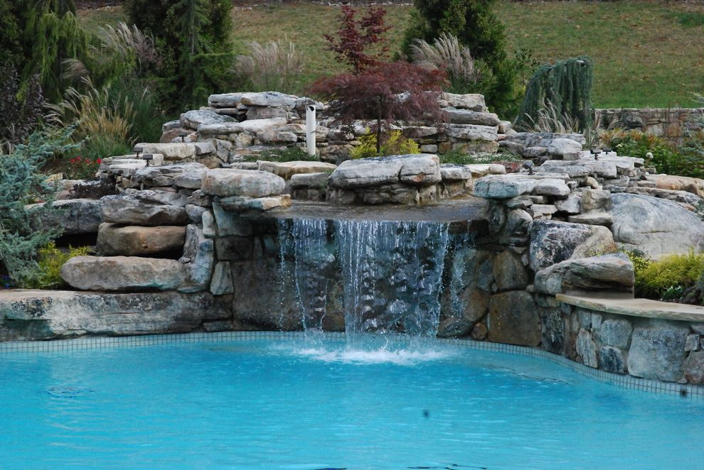 Waterfalls in Oklahoma   Contemporary Pool Also Boulders Hillside Rocks Slope Stone Wall Water Feature Waterfall
