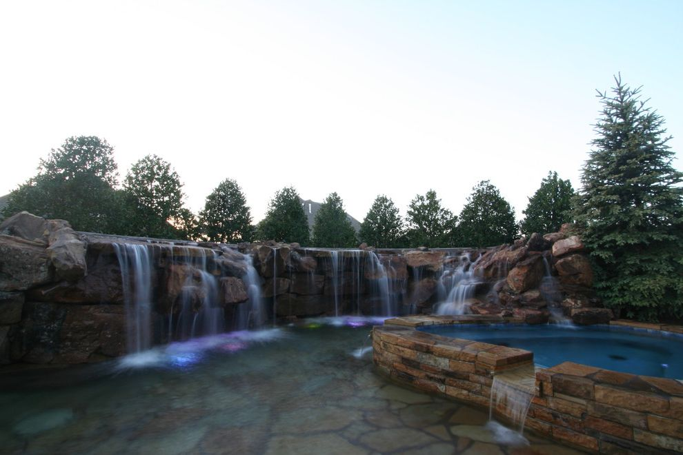 Waterfalls in Oklahoma   Rustic Pool Also Caviness Flagstone Natural Swimming Pool Designs Spas Waterfall