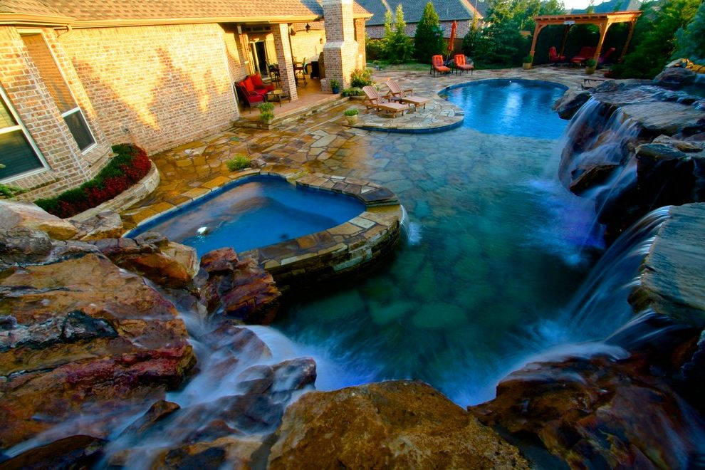 Waterfalls in Oklahoma   Rustic Pool Also Flagstone Patio Landscape Designs Pool Design Waterfalls