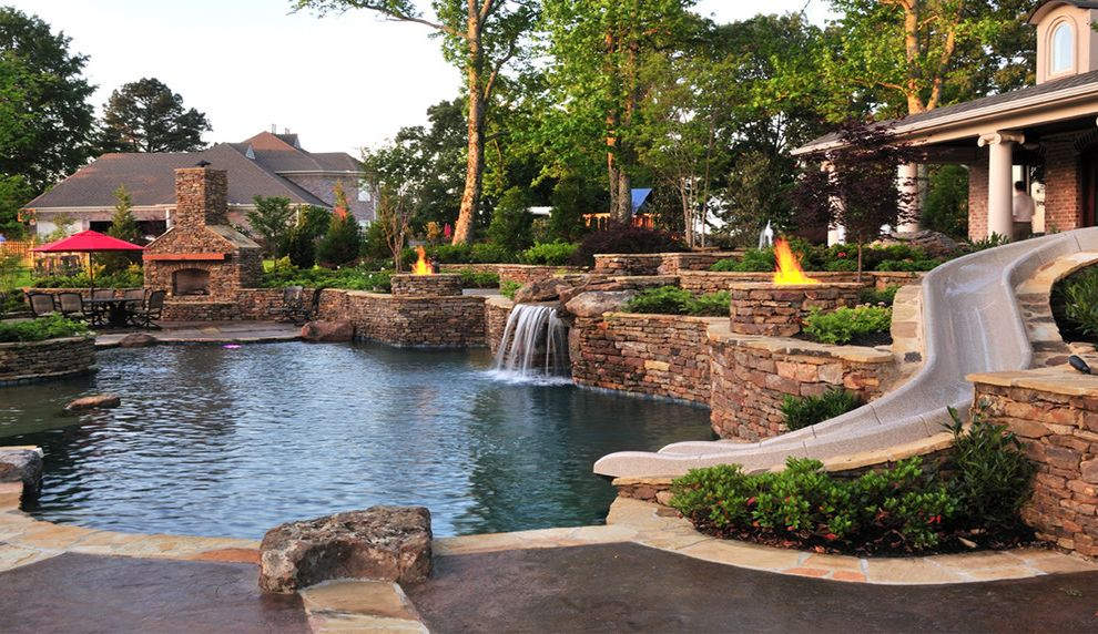 Waterfalls in Oklahoma   Traditional Pool Also Backyard Resort Beach Entry Cave Dry Laid Stone Wall Entertainment Patio Firepits Fireplace Grotto Landscape Misting System Natural Outdoor Living Stone Stone Walls Waterfall Waterslide