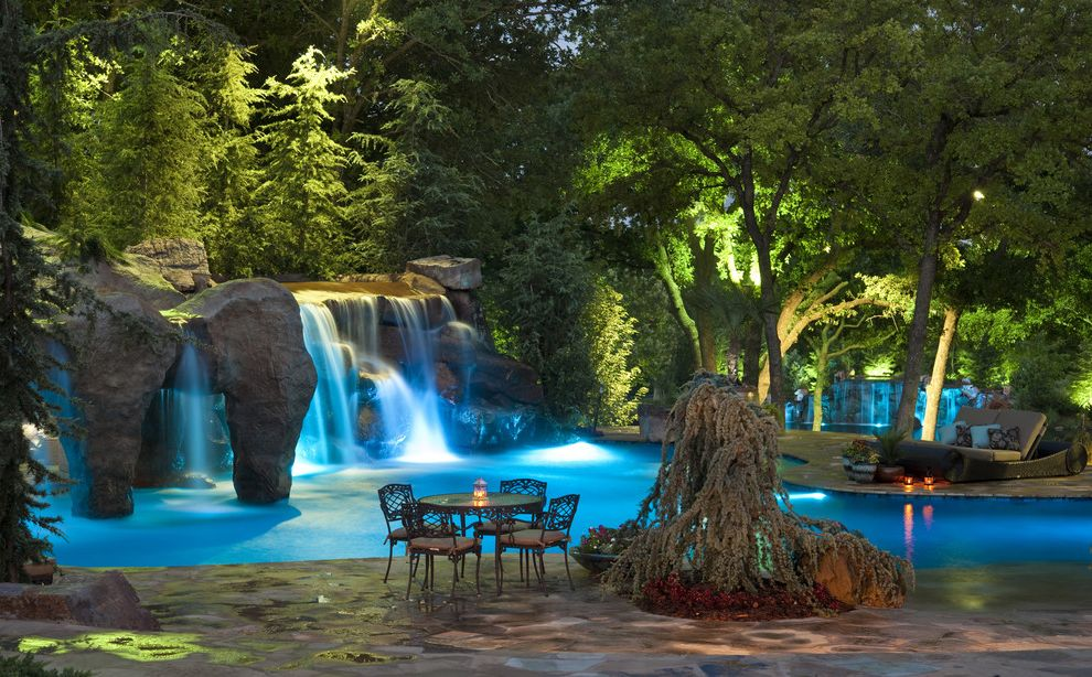 Waterfalls in Oklahoma with Mediterranean Pool Also Caviness Color Kinetics Dream House Dream Pools Faux Rock Flagstone Grottos Landscape Design Lighting Man Cave Pool Designs Swim Up Bars Swimming Pools Waterfalls