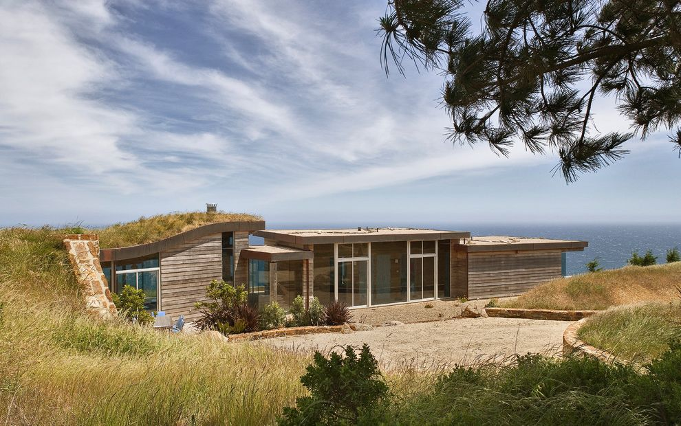 What is a Berm   Contemporary Exterior  and Flat Roof Floor to Ceiling Windows Green Roof Landscape Living Roof Wood Siding