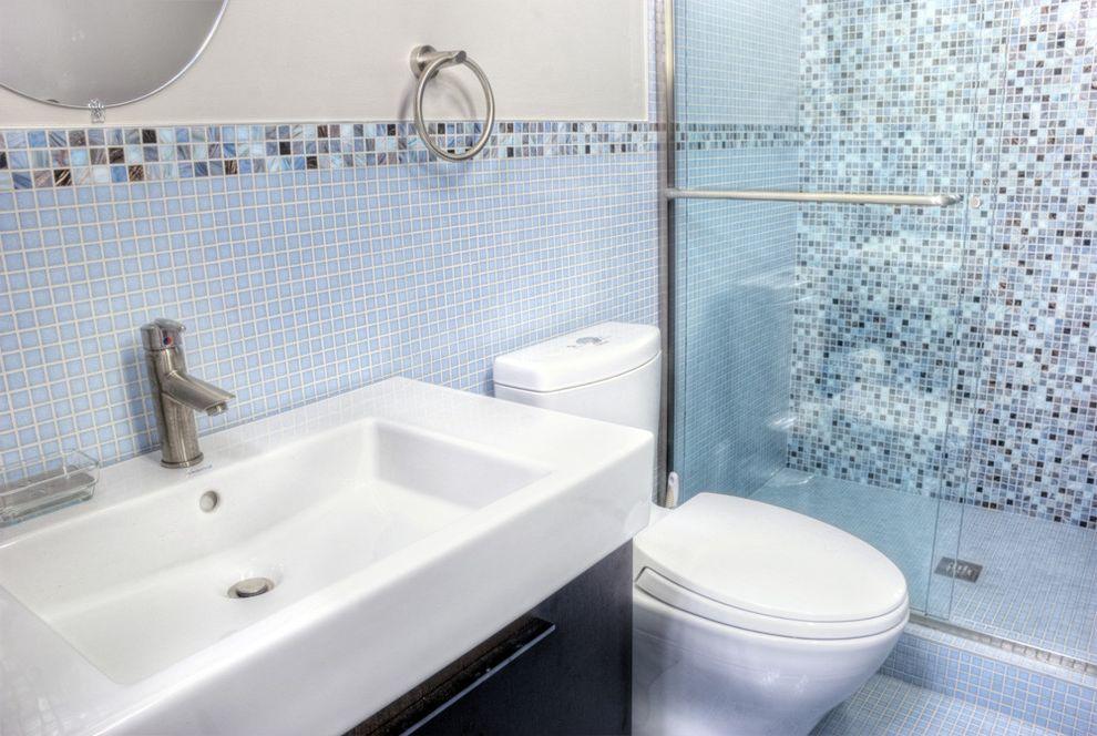 10 Inch Rough in Toilet   Contemporary Bathroom  and Dark Wood Cabinets Glass Shower Doors Mosaic Tiles Sliding Door Tile Backsplash Tile Flooring Towel Racks Vanity
