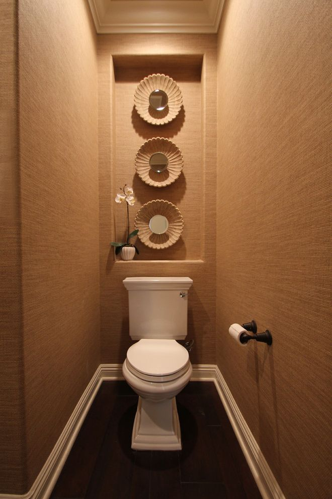 10 Inch Rough in Toilet   Contemporary Powder Room  and Baseboards Crown Molding Dark Floor Grasscloth Wallcoverings Niche Orchid Toilet Room Wall Decor