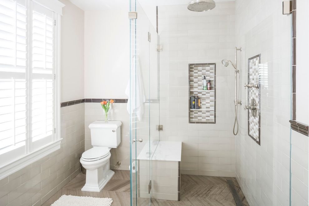 10 Inch Rough in Toilet   Traditional Bathroom Also Bath Mat Decorative Tile Border Divider Glass Wall Louvers Neutral Colors Niche Partition Rainfall Showerhead Shower Seat Toilet White Subway Tile Wall Window