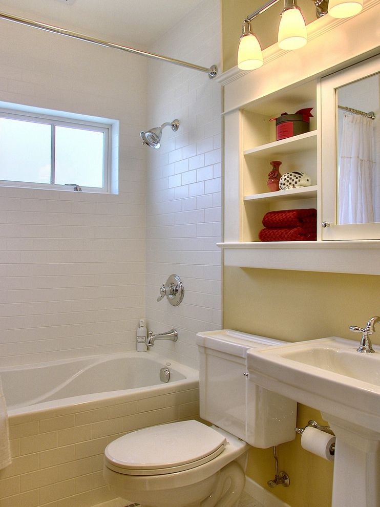 10 Inch Rough in Toilet   Traditional Bathroom Also Bathroom Mirror Medicine Cabinet Open Shelving Pedestal Sink Sconce Shower Fixtures Shower Tub Storage Subway Tiles Towel Storage Tub Surround Wall Lighting Yellow Wall