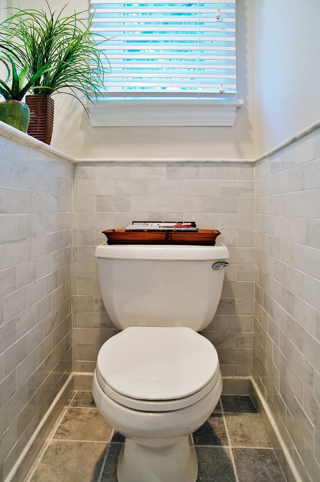 10 Inch Rough in Toilet   Traditional Bathroom Also House Plants Ledge Neutral Colors Subway Tiles Tile Flooring Wainscoting Window Blinds Window Treatments