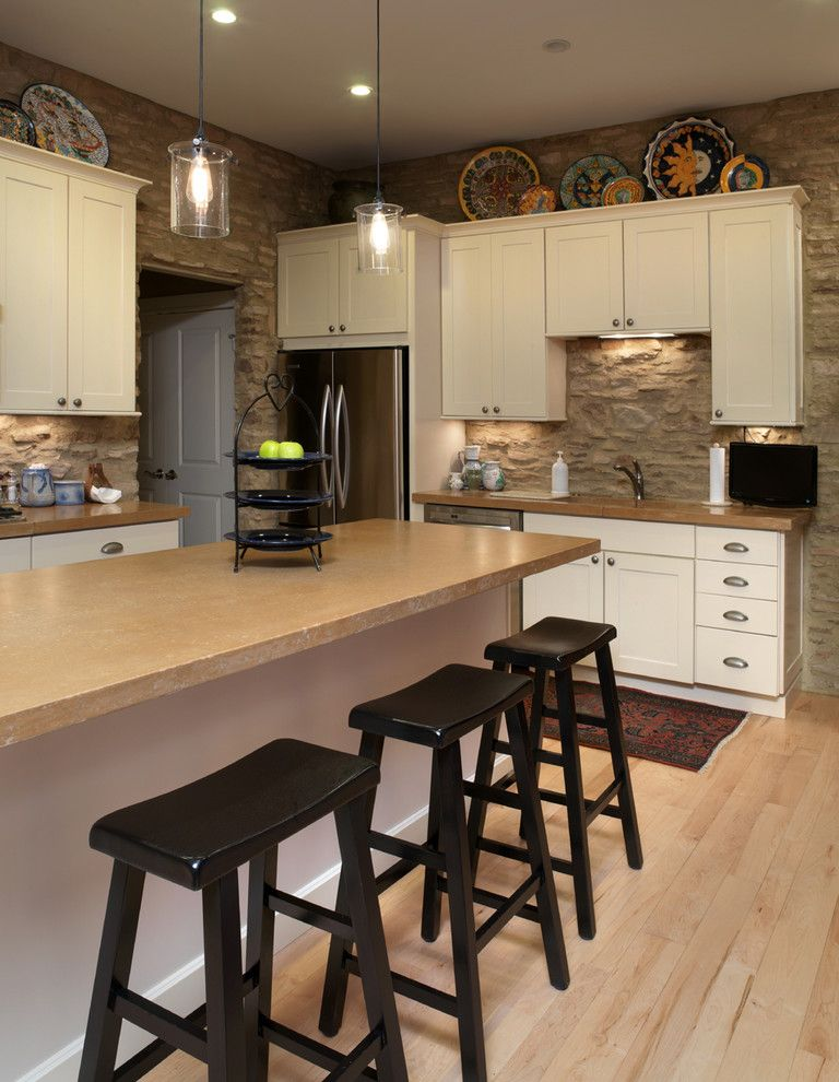 34 Inch Bar Stools with Rustic Kitchen Also Breakfast Bar Collection Eat in Kitchen Glass Pendant Modern Kitchen Oriental Rug Pendant Light Plates Rustic Stainless Steel Appliances Stone Stone Wall Stools White Cabinets Wood Barstools