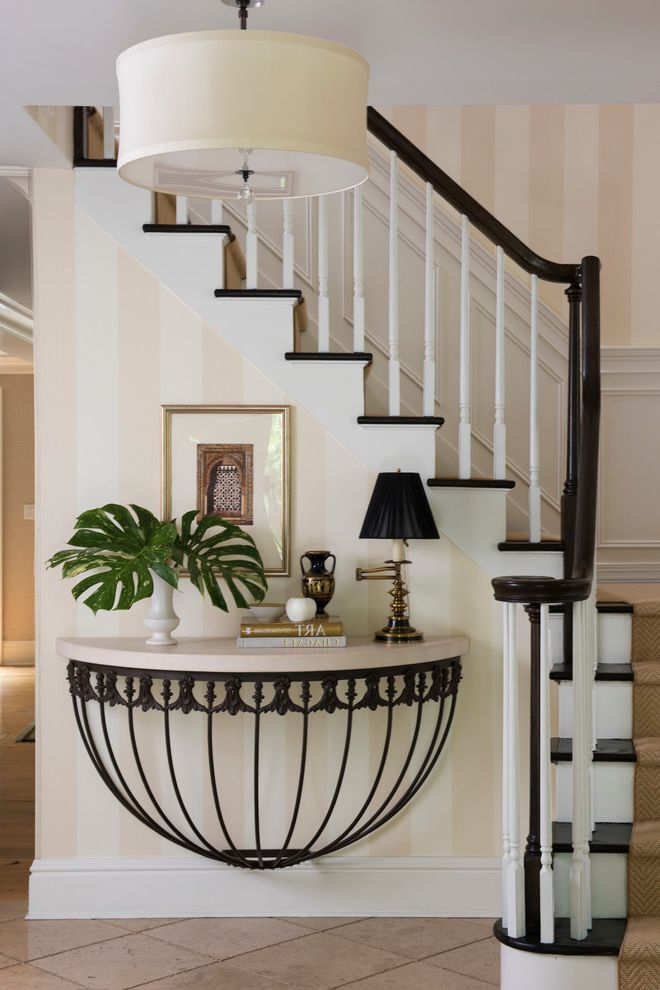 72 Inch Console Table   Traditional Entry Also Built in Console Table Built in Shelf Dome Stand Hallway Pendant Light Striped Wallpaper
