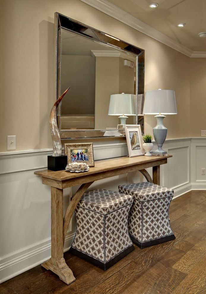 72 Inch Console Table   Traditional Entry  and Antique Mirror Console Table Enamelled Wainscotting Ottomans Under Console Rift Sawn Oak Floors Upholstered Ottomans