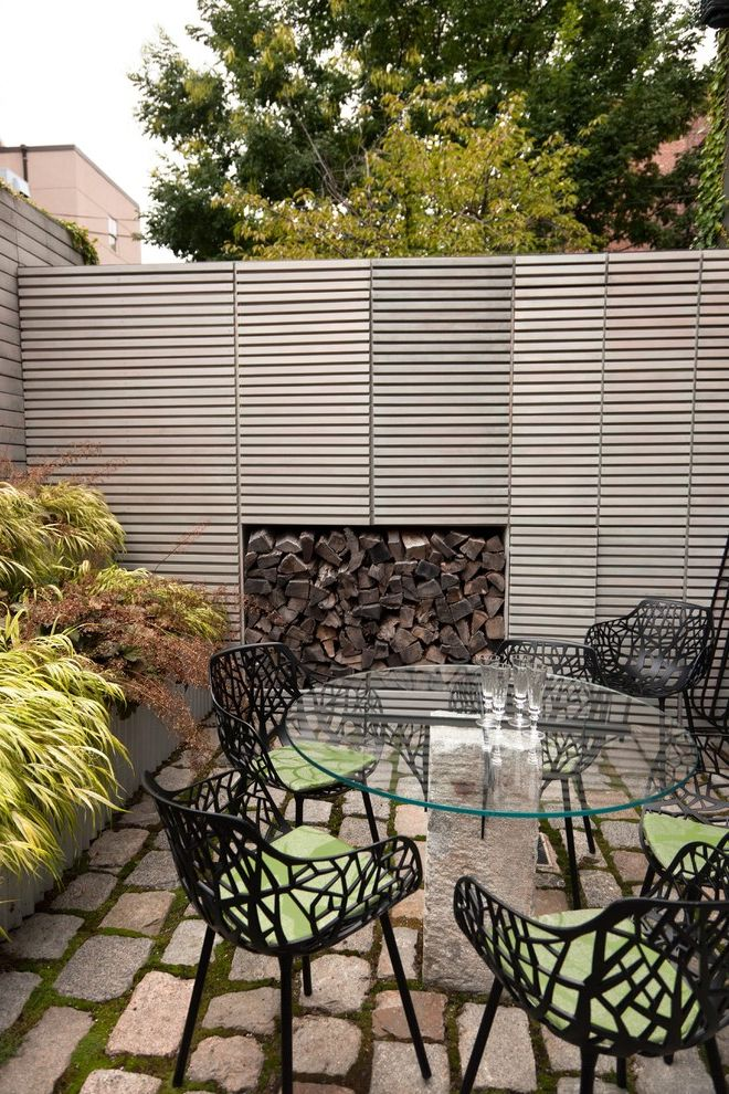 Ac Wall Units   Contemporary Landscape Also Brick Paving Container Plants Courtyard Glass Dining Table Outdoor Dining Patio Furniture Pedestal Table Planter Box Potted Plants Raised Bed Small Garden