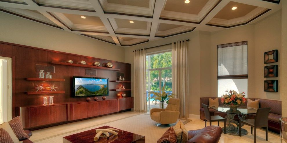 Ac Wall Units   Contemporary Living Room Also Boca Raton Broken Sound Coffered Ceiling Contemporary Entertaiment Center Floating Cabinet Floating Shelves Media Room Tv Wall Unit White Carpet Yogui